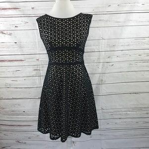 LOFT A-Line Dress Black Eyelet Petites Size 4P